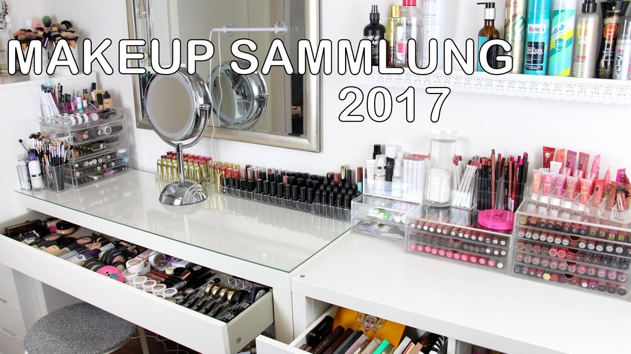 2017 xxl make up sammlung aufbewahrung update schminktisch ikea m bel la alena youtube. Black Bedroom Furniture Sets. Home Design Ideas