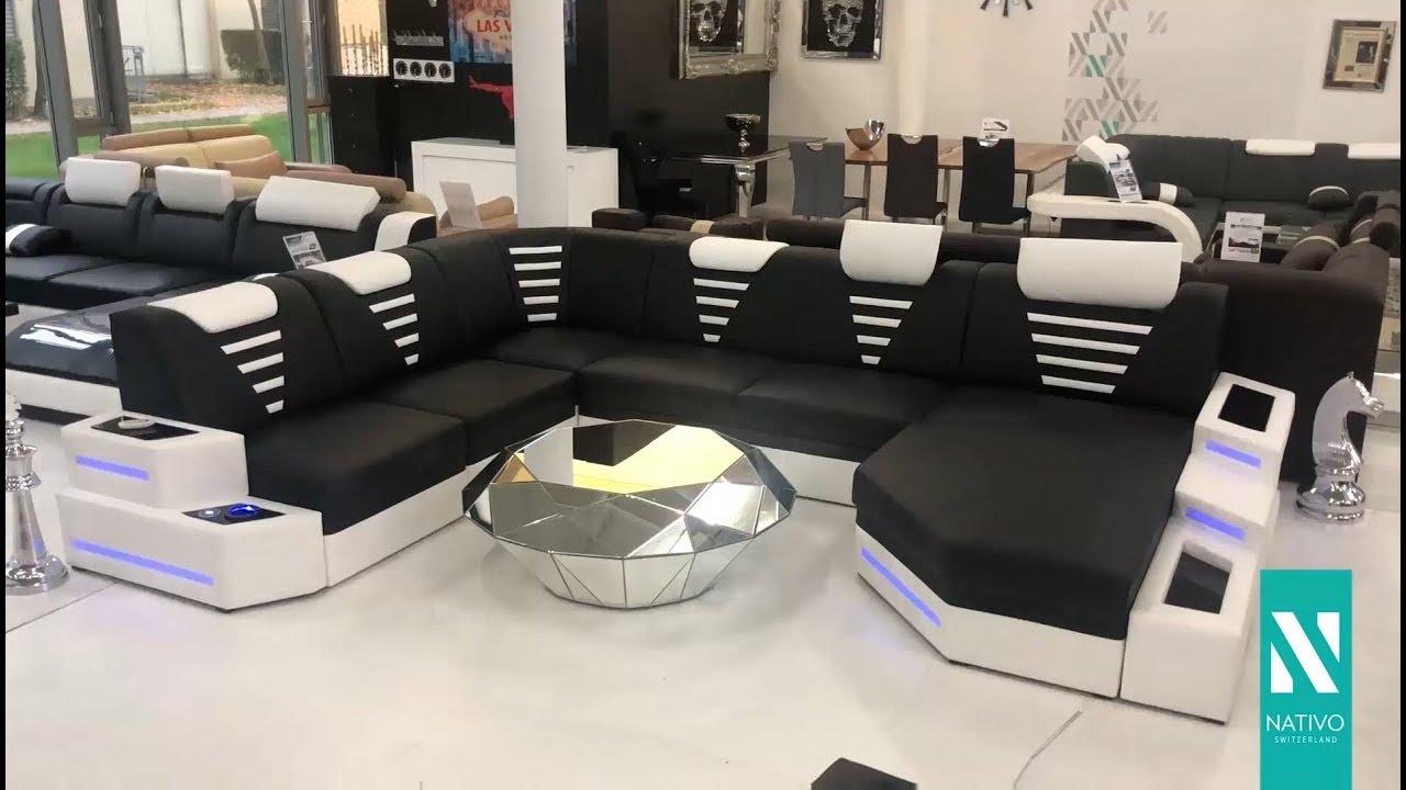 nativo möbel Österreich - designer sofa nemesis xl mit led beleuchtung &  usb anschluss