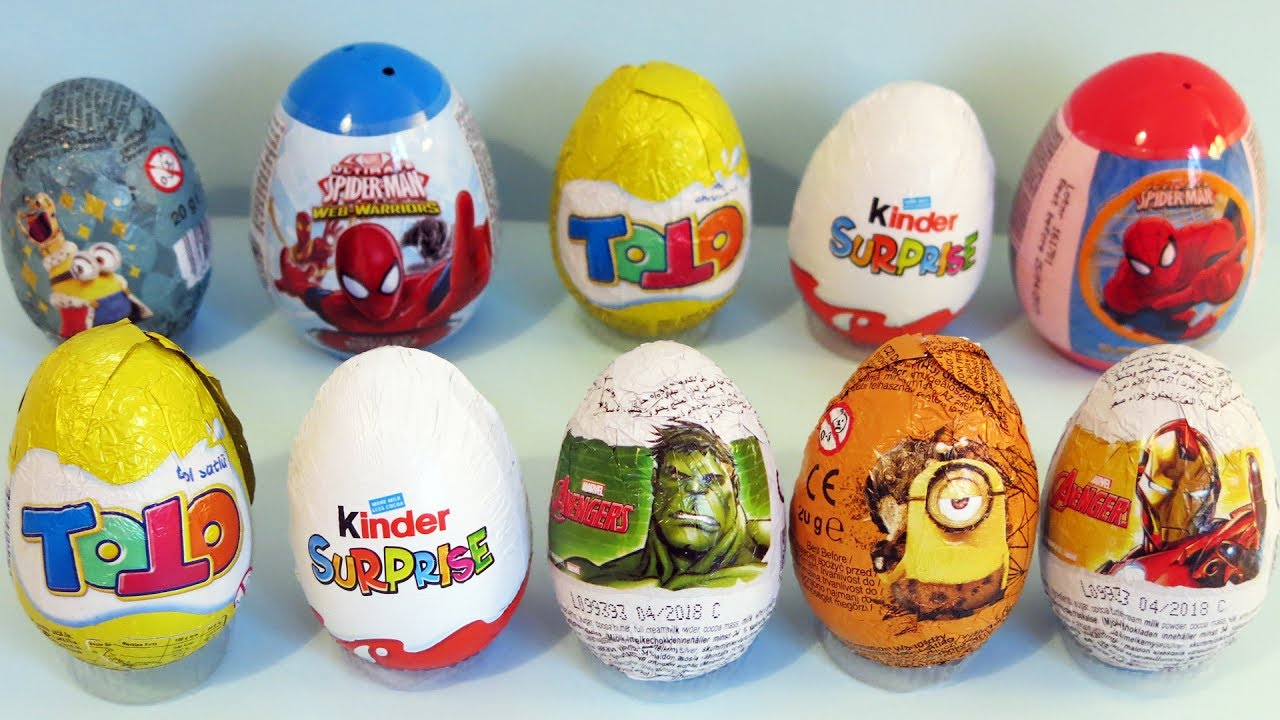 Kinder, Marvel, Zaini, Spider-Man, Minions and Toto surprise eggs ...