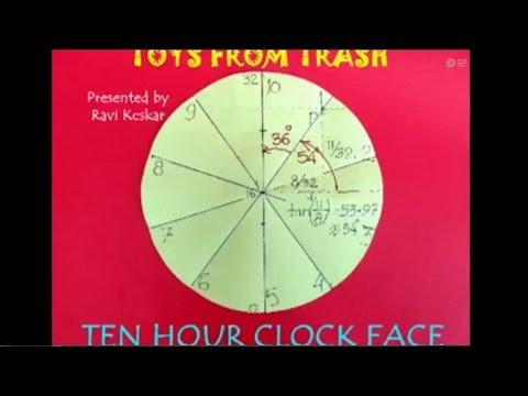 TEN HOUR CLOCK FACE - HINDI - Divide a Circle into 10 equal sectors