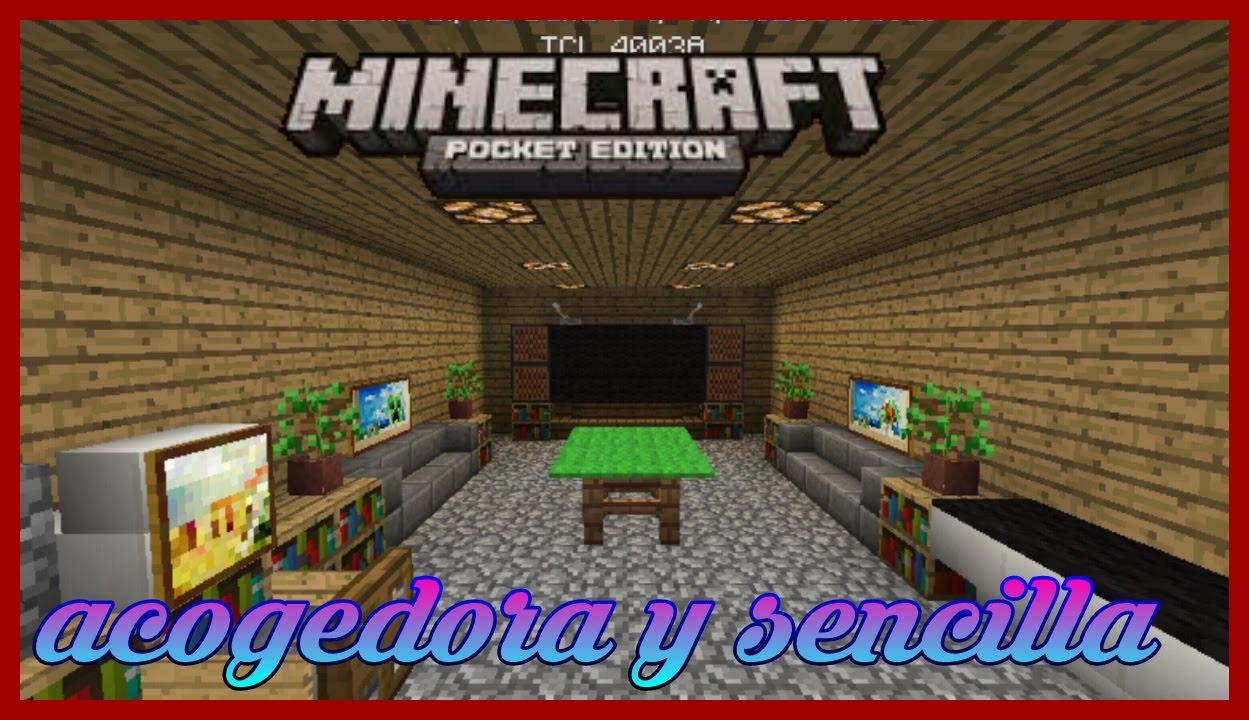 Como Hacer Una sala Moderna en Minecraft pe 0.14.0¡ (Decoracion ...
