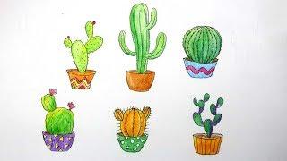 Cara Menggambar Kaktus Yang Mudah Youtube
