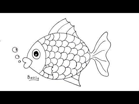 تعليم الرسم للاطفال | كيف ترسم سمكة خطوة بخطوة للمبتدئين