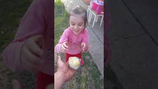 Alexia se sperie de un pui de gaina