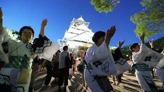 大阪城公園で8月、豊臣秀吉の七回忌に踊られた「豊国踊り」を再現する...