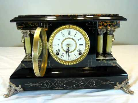 Seth Thomas Black Adamantine Mantel Clock