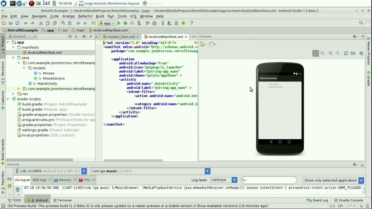 Vogella android json example