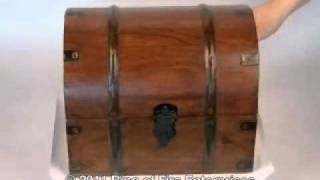 Demonstration Of Our Wood Domed Treasure Chest Box With Metal Accents