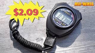 Stopwatch Olahraga Waterproof genggam Digtal LCD Strap - Hitam