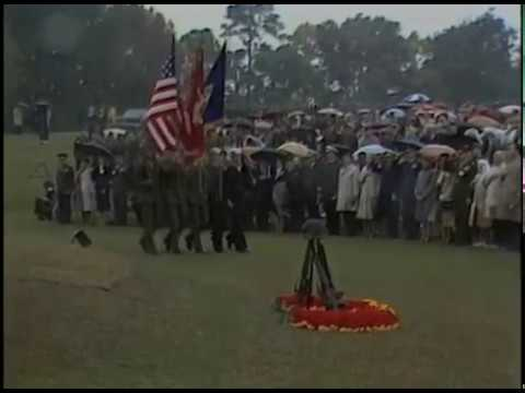 President Reagan's Arrival at the Memorial for US Marines at Camp Lejeune on November 4, 1983
