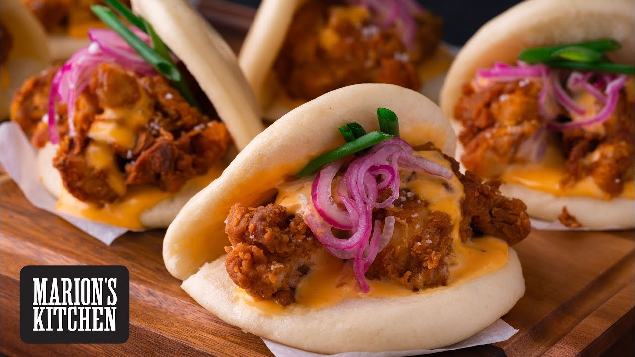 Spicy Fried Chicken Bao Buns - Marion's Kitchen
