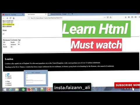 LEARN HTML IN 20 MINUTES || HTML TUTORIAL || FAIZAN ALI || 2019