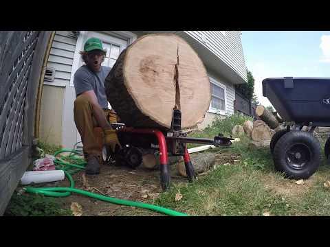 Homelite 5-ton Electric Log Splitter Review - 25 in Oak Log