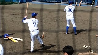 沖縄キャンプ2日目読谷での根尾昂選手のティーバッティングの様子です ...