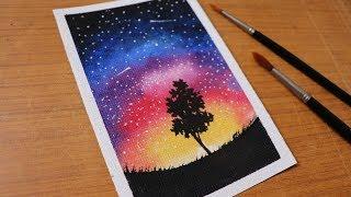 watercolor painting simple sky night beginners tutorial