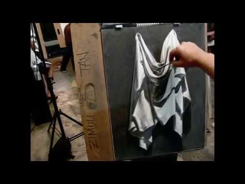Instructional how to draw drapery demo from Tan's Fine Art S