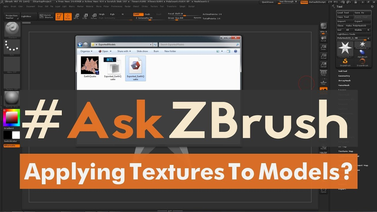 "#AskZBrush: ""I Imported an OBJ file that has a texture map  How can I apply  this map to the model?"""