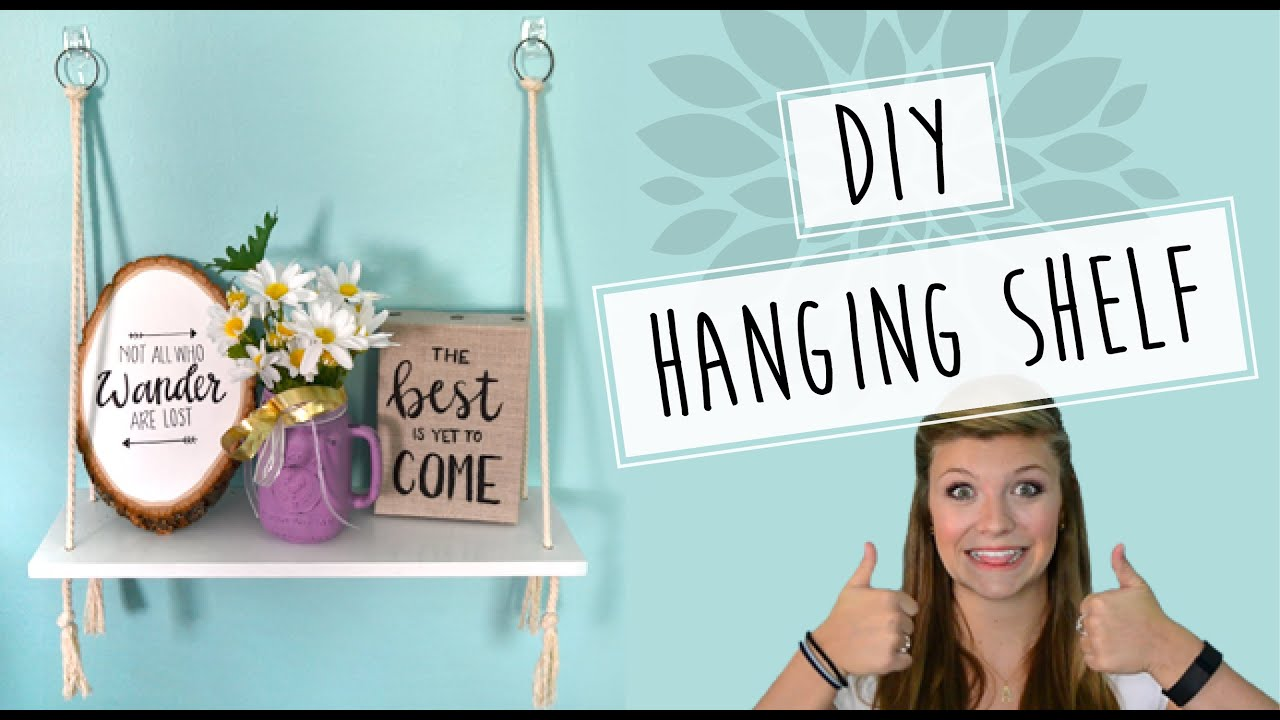 DIY // Rope Hanging Wall Shelf Tutorial - YouTube