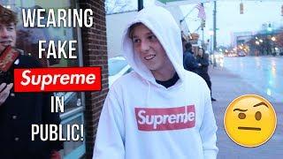 Wearing Fake Supreme Box Logo In Public!
