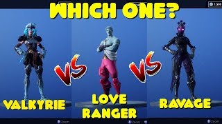 NEW VALKYRIE SKIN VS LOVE RANGER VS RAVAGE COMPARISON IN FORTNITE