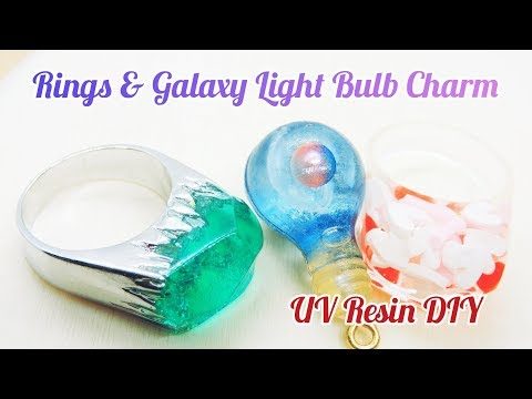 UV Resin DIY Rings & Galaxy Light Bulb Charm