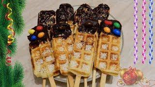 Новогодние вафли в шоколаде рецепт в электровафельнице GFW 015
