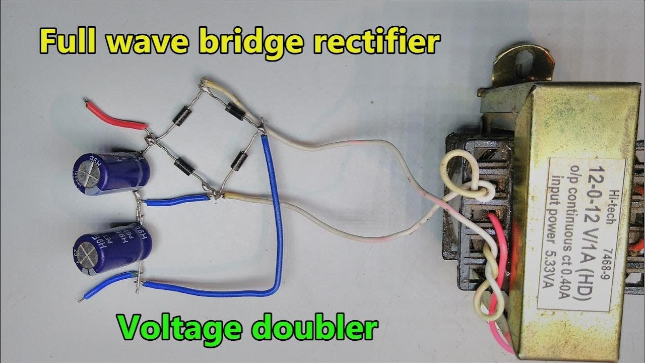 full wave bridge rectifier ac to dc with voltage doubler vin 2 vout wiring diagram further 12 volt ac dc rectifier on 6 wire rectifier [ 1280 x 720 Pixel ]