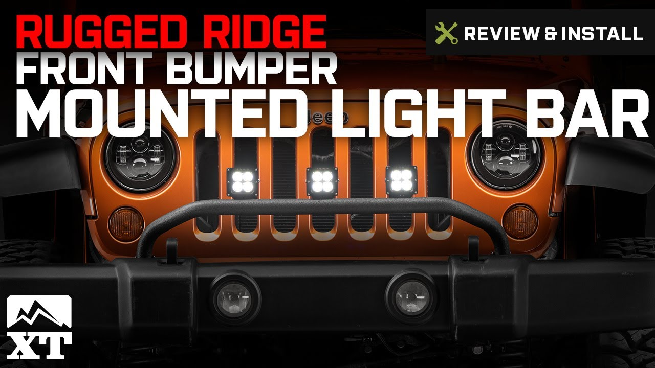 Jeep wrangler rugged ridge front bumper mounted light bar 2007 2017 jeep wrangler rugged ridge front bumper mounted light bar 2007 2017 jk review install aloadofball Images