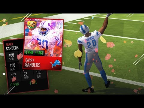110 OVERALL BARRY SANDERS GAMEPLAY! Madden Mobile Thanksgiving