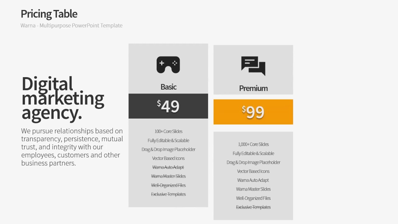 Pricing Table Powerpoint Template Warna Slides Youtube