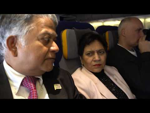 Aruna & Hari Sharma landing Vancouver airport by Lufthansa LH492 direct from Frankfurt, Jan 19, 2018