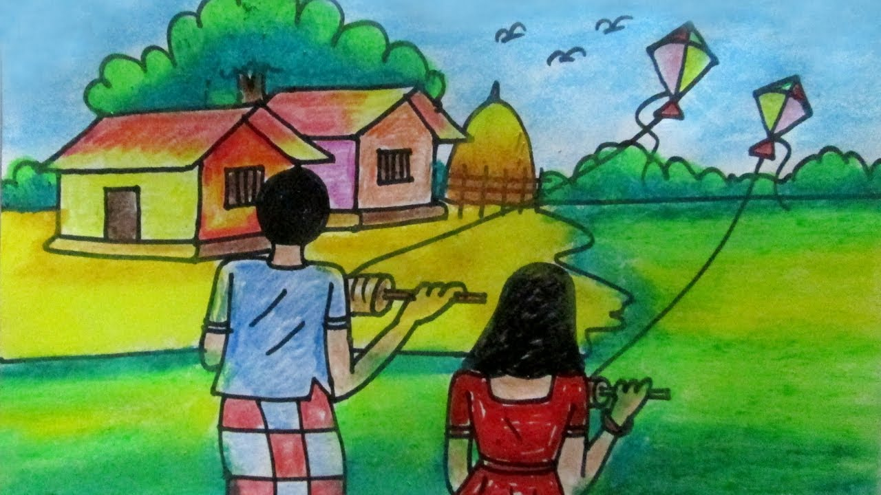How To Draw Kite Flying Village Scenery Step By Step Very Easy