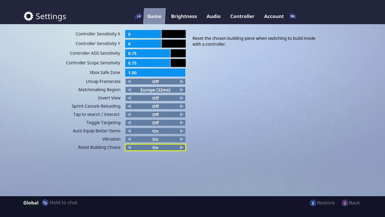 fortnite battle royale how to change building controls back to reset after the new map update - fortnite controls xbox one keyboard