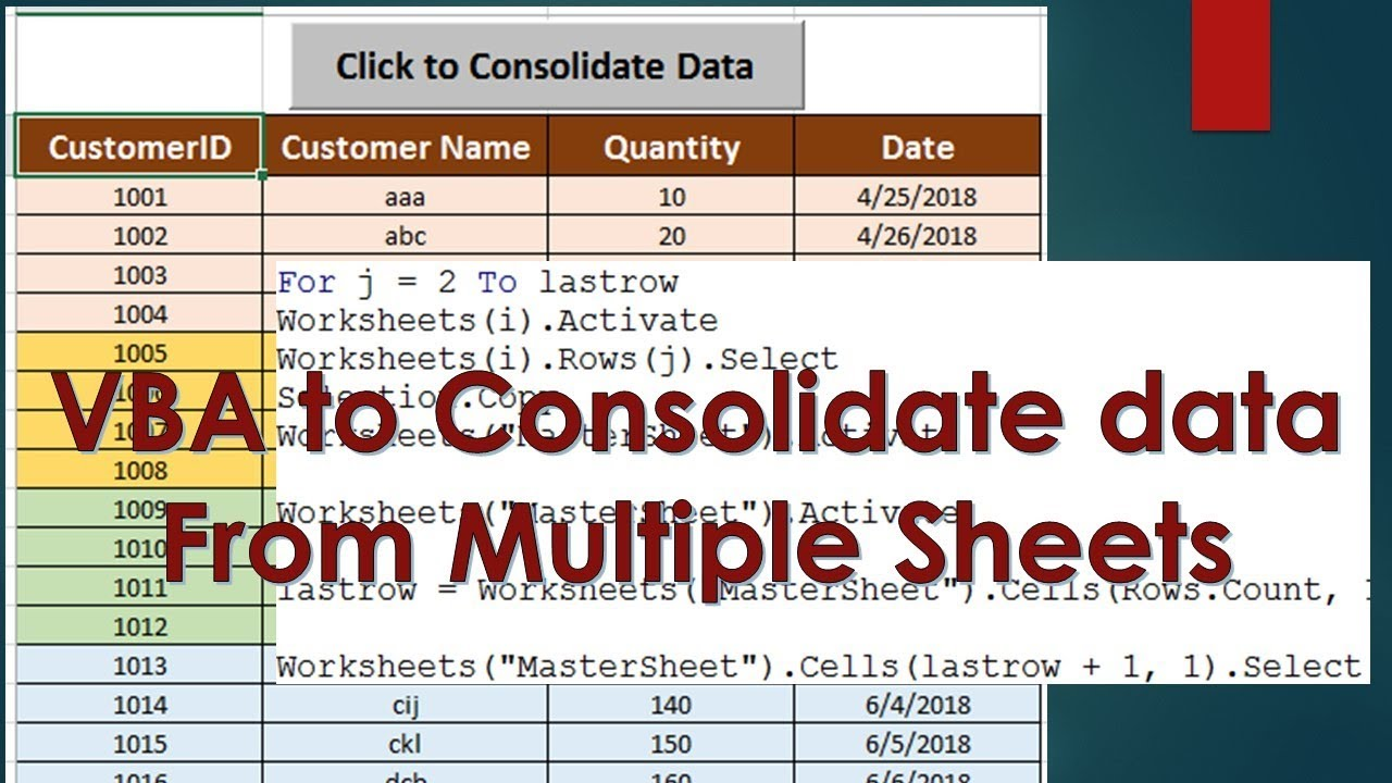 VBA to Consolidate data from Multiple Sheets - Excel VBA Example by  Exceldestination