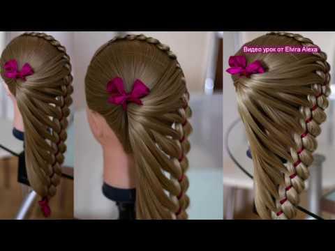 Оригинальная коса в школу Детская причёска с лентой Trenza Hair tutorial