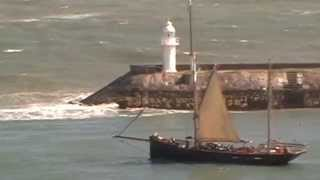 Brixham sailing trawler Leader in heavy seas 18th April 2015