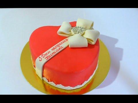 Торт Сердце с Бантом Украшение тортов Cake Heart with Bow