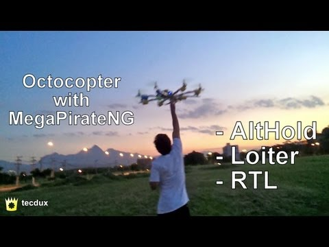 MegaPirate: AltHold, Loiter and RTL with an Octocopter, great performance!