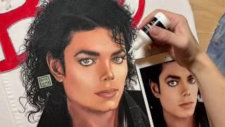 Michael Jackson portrait on white denim jacket