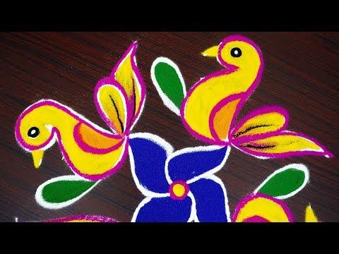 Simple birds colour kolam with 8x4x2 dots - beginners rangoli design - muggulu with dots