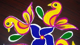 Simple birds colour kolam with 8x4x2 dots beginners rangoli design muggulu with dots