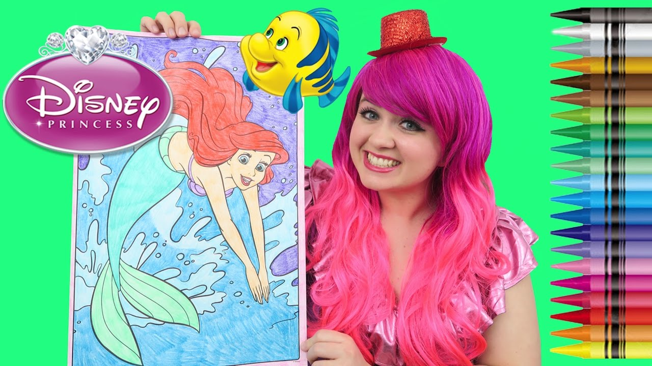 Coloring Ariel The Little Mermaid Giant Coloring Page Crayons Coloring With Kimmi The Clown