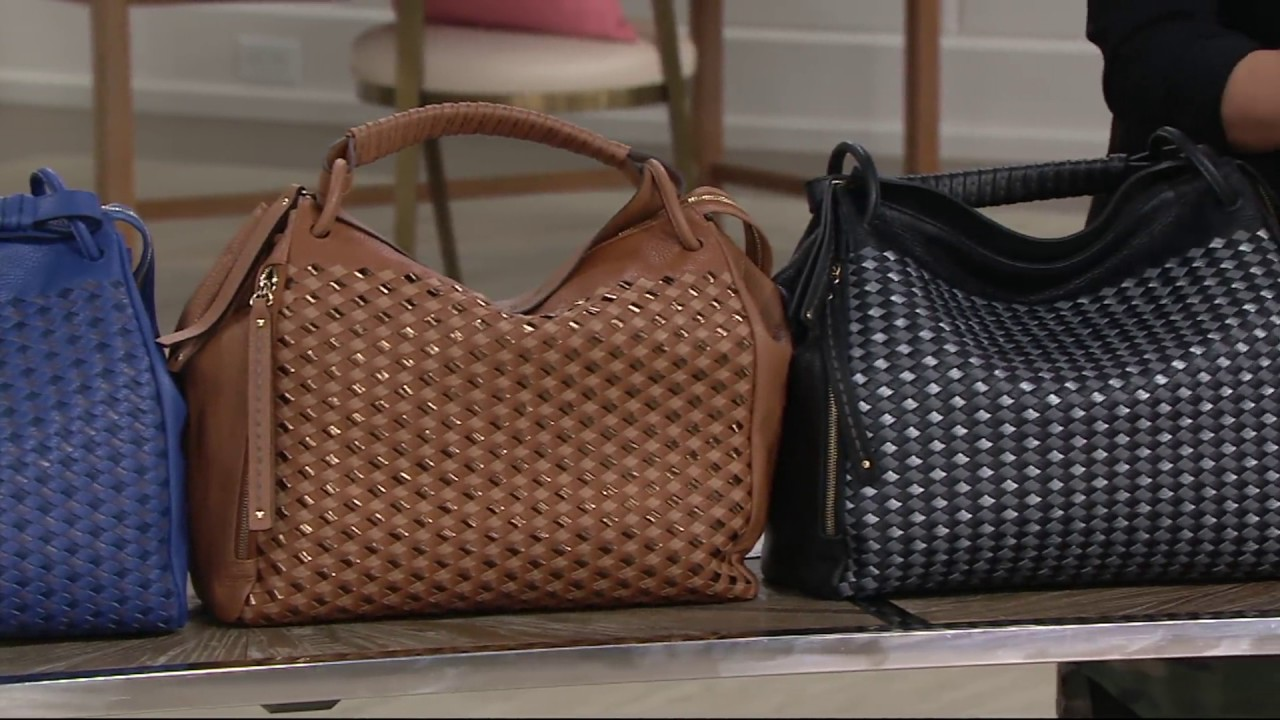 Plinio Visona Italian Woven Leather Satchel on QVC - YouTube 36efa0edd28