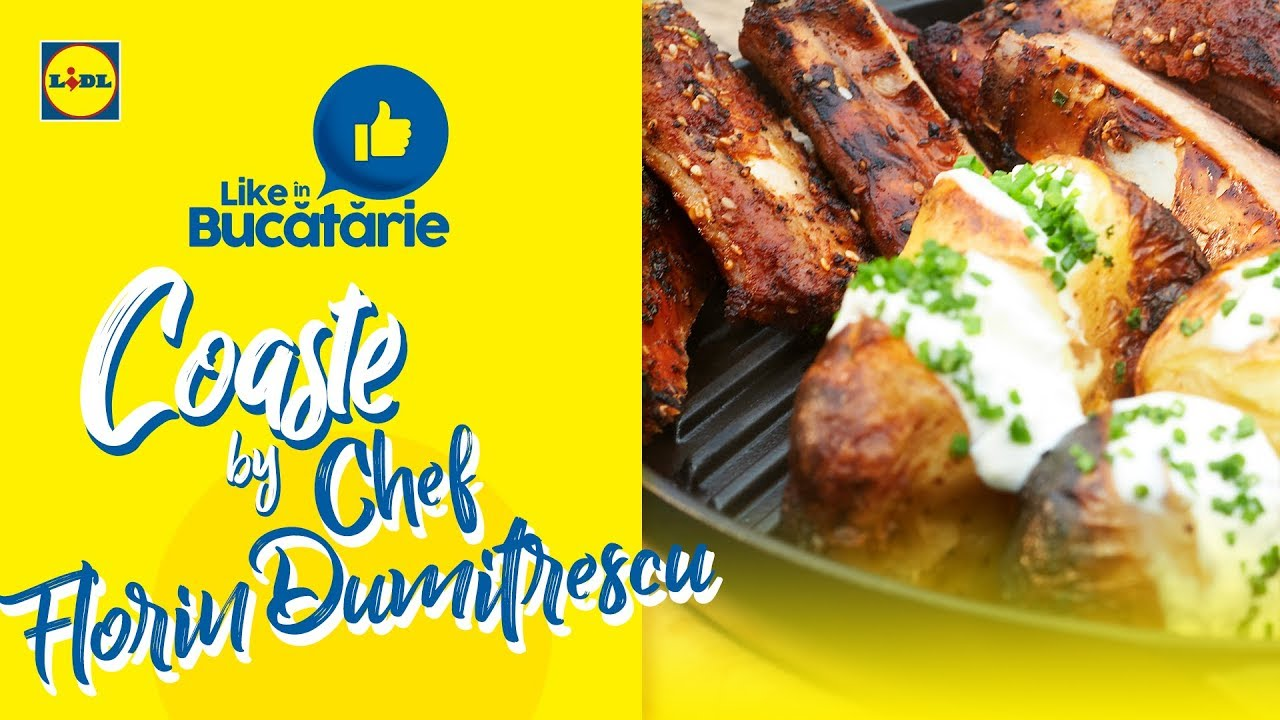 Coaste la gratar cu cartofi copti si mamaliga cu parmezan • Reteta Chef Florin Dumitrescu