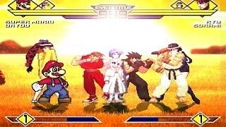 Team Super Mario vs Team Ryu  4v4 Patch MUGEN 1.0 Battle!!!