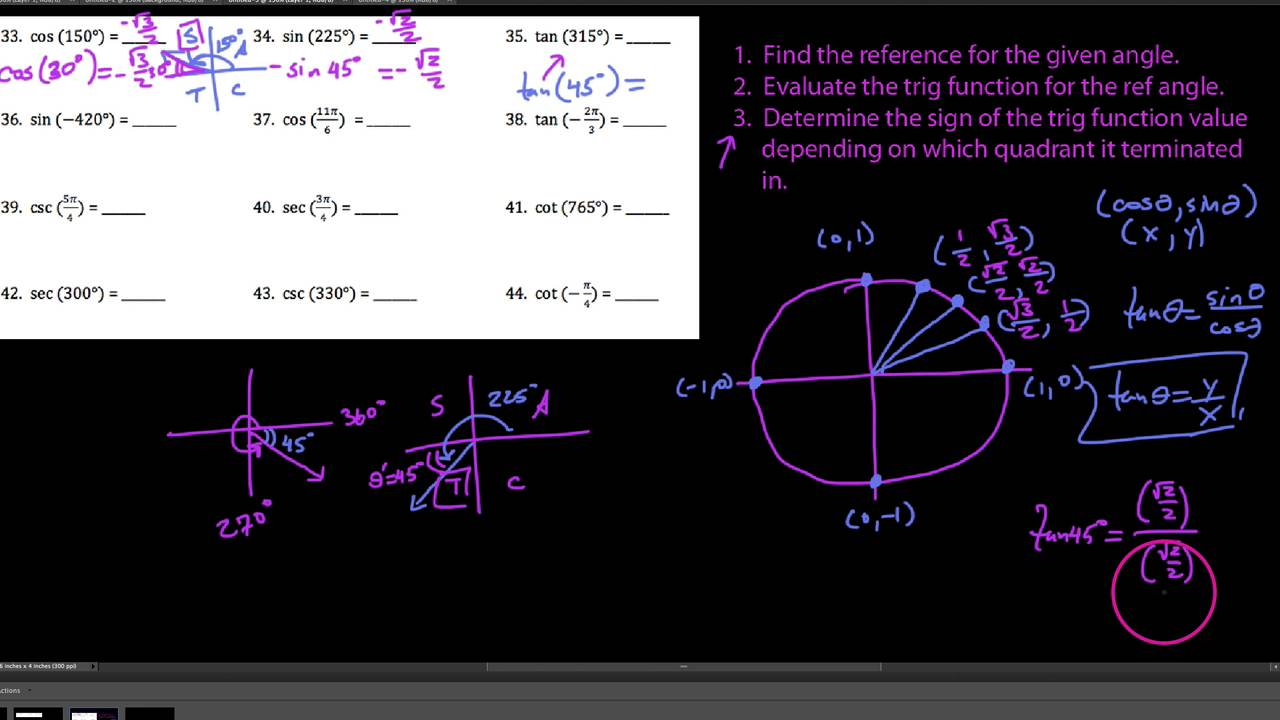 HA2 Worksheet 93 Video 3 Evaluating trig functions using – Reference Angles Worksheet