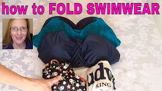 How to fold swim suits, bathing suits women's/girl's 1 piece suits | konmari folding swimwear