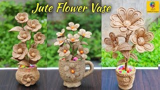 Best 3 Flower and Flower vase Decoration Idea with Jute Rope | Home Decor Jute Flower Showpiece