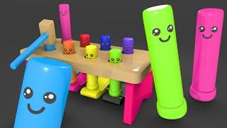 Nauka kolorów dla dzieci - Wbijanie drewnianych klocków | CzyWieszJak