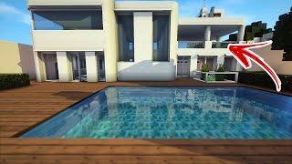 piscina moderna casa minecraft cidade